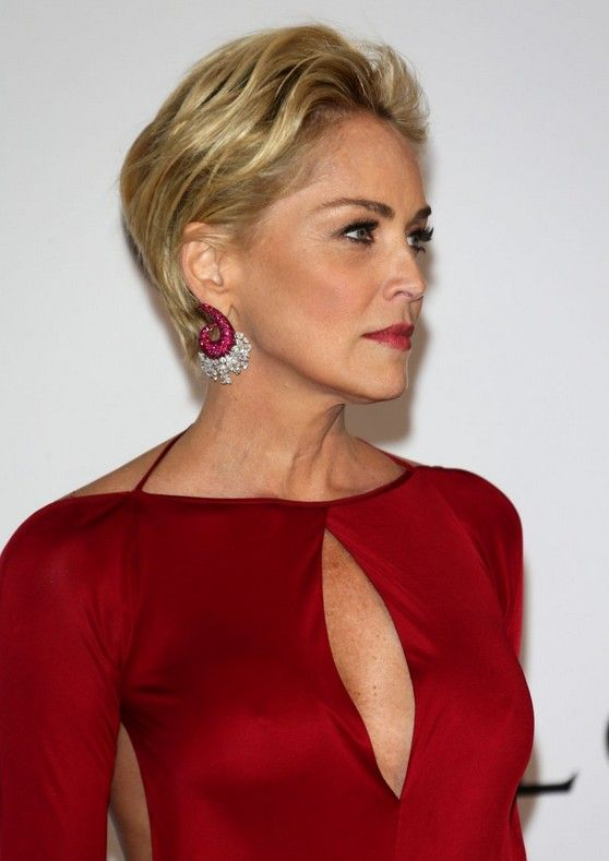 Sharon Stone short blonde pixie cut for women over 40  | Get more style tips at 40plusstyle.com