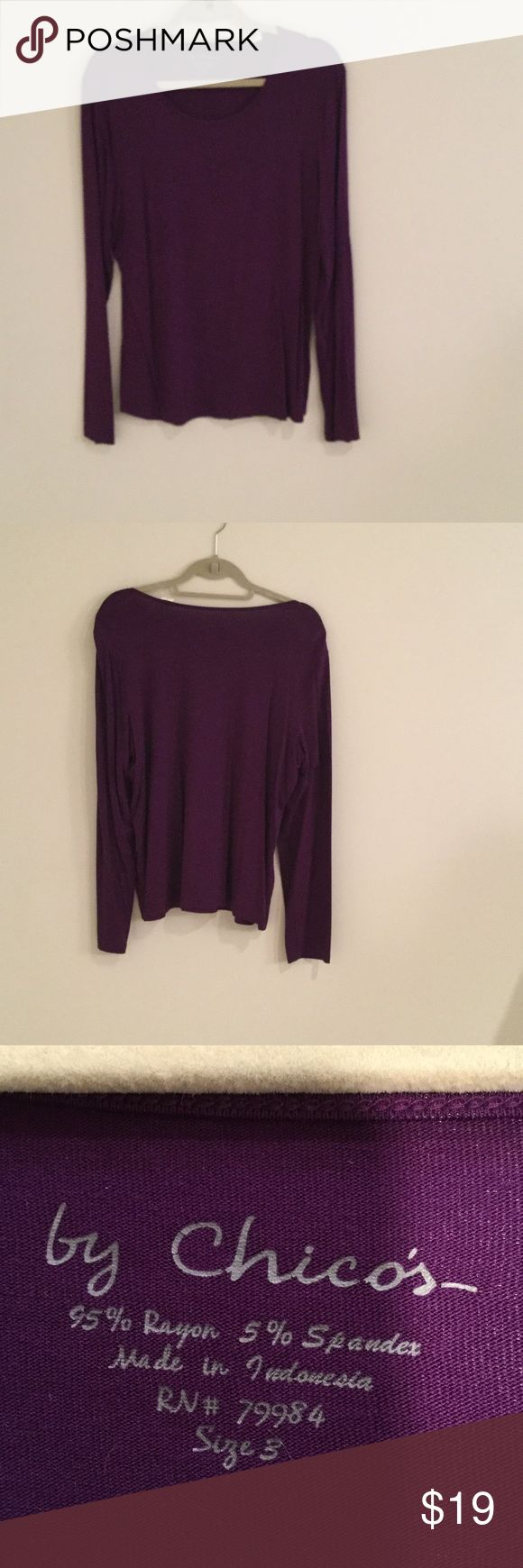 Chicos size 3  purple long sleeve T-shirt Chicos size 3 (16/18) purple this scoopneck tee is one of those wardrobe fundamentals slim sleeves and smooth fabrication create the perfect foundation for your favorite layered look Chico's Tops Tees - Long Sleeve