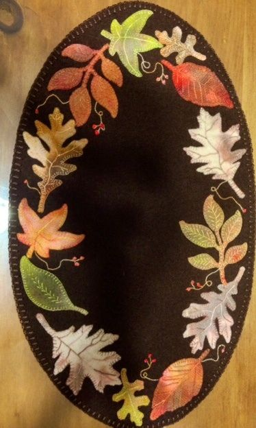 Wool Applique Faded Falling Leaves Pretty Penny Precuts find die cut kit at www.prettypennyprecuts.etsy.com