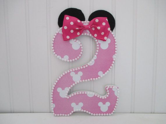 """MINNIE MOUSE theme number, numeral - 15.00 per number, 8-1/2"""", birthday party decorations and for monthly or yearly birthday pictures"""