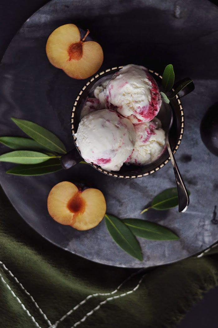 Bay Leaf and Roasted Plum Ice Cream - 10th Kitchen