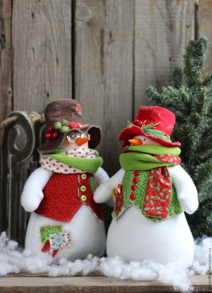 Купить Снеговик новогодний.. Игрушка интерьерная - комбинированный, снеговик, новый год 2016, купить снеговика, подарок