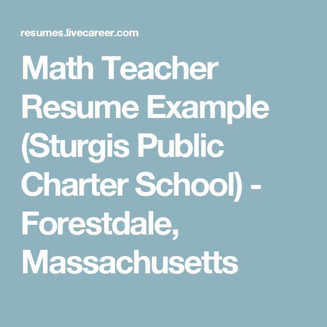 Math Teacher Resume Example (Sturgis Public Charter School) - Forestdale, Massachusetts
