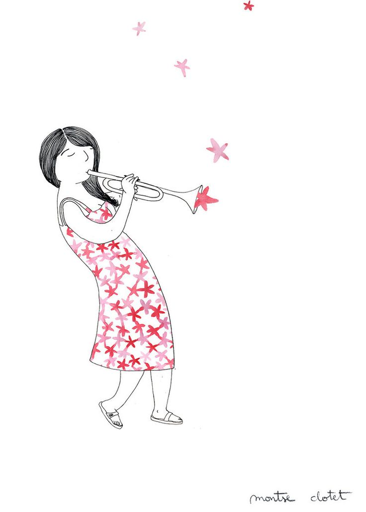 Poster detail— Detall de la proposta de cartell per a la Festa Major de Gràcia 2016. Musicians, illustration, trumpet. Montse Clotet