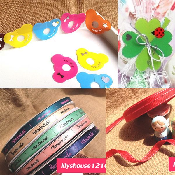 Bowknot twist tie / tie ribbons / clips for cello party bread cookie cake bags