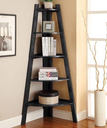Black Five-Shelf Corner Display Stand