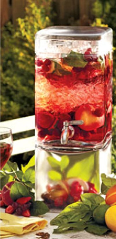Flavored Water would be a great way to combine an ice cold refreshment and decor for the event. Also, if the event is held outside during the summer months, water would be the best thing for your guests to drink.