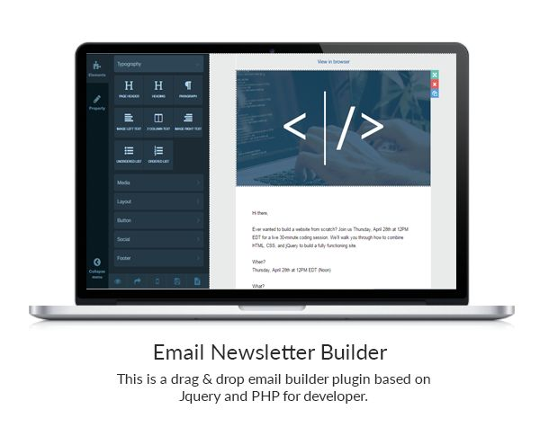 Bal - Email Newsletter Builder - PHP Version With 20 different elements create your own Creative Email Newsletter