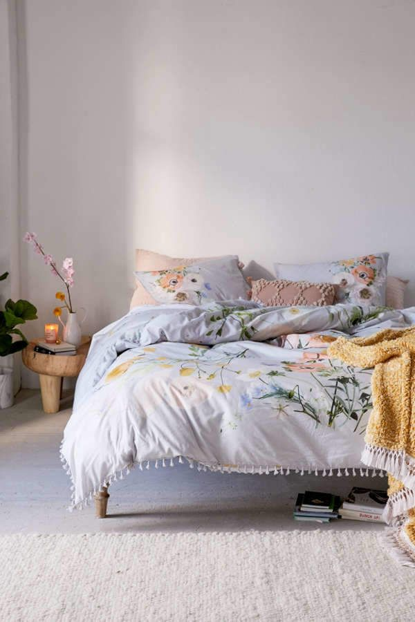 Phoebe Floral Tassel Duvet Cover Products In 2019 Duvet