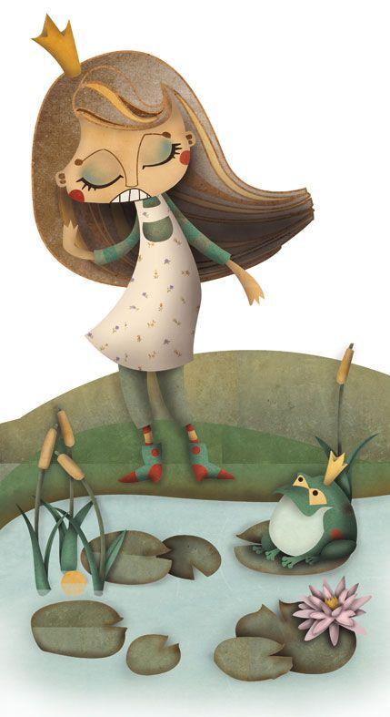 """Otra ilustración de un cuento clásico """"El príncipe rana de los hermanos Grimm"""" para mi nuevo book de ilustraciones infantiles. Por Elena Catalán"""