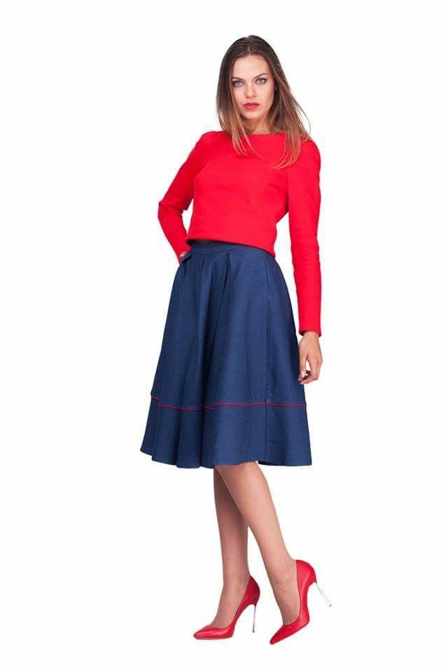 Джинсовая юбка клеш с красным кантом lilo