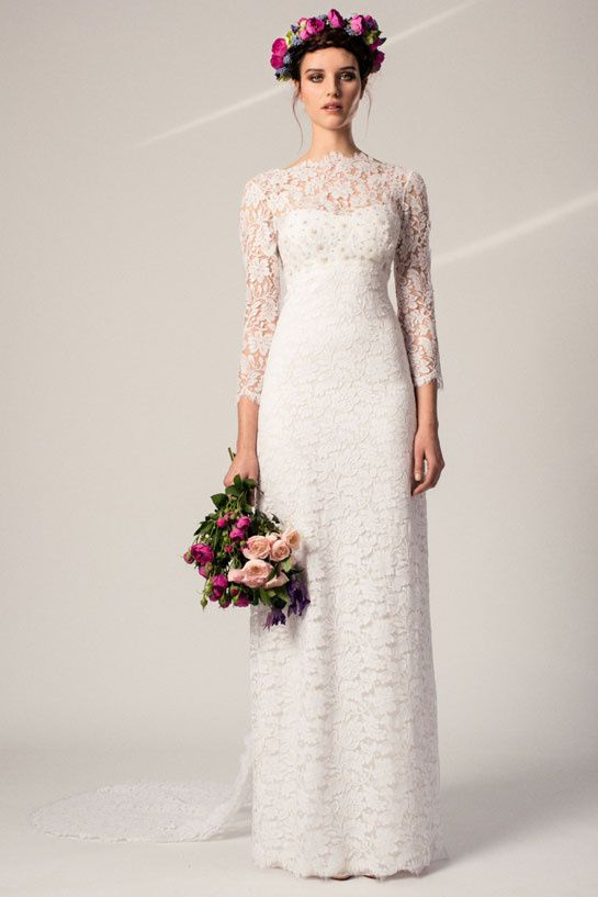 Temperley | A much-loved address for London brides, Temerpley refined retro styles for its Spring/Summer 2015 wedding collection. Presenting looks that mixed Sixties baby doll cuts and decorative Empire styles, the British fashion house worked primarily in lace, as seen on this straight-cut dress.