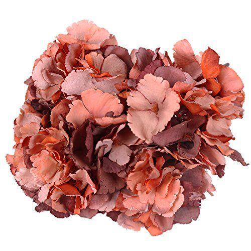 Luyue 5 Big Heads Artificial Silk Hydrangea Bouquet Fake Flowers Arrangement Home Wedding decor (Vintage Fall Butterfly)