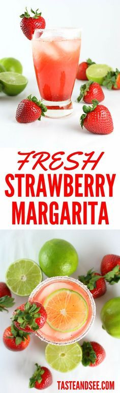 Fresh Strawberry #Margarita recipe: perfectly balanced alternative to the classic.  With tequila, fresh strawberries, fresh lime, & strawberry liquor.  http://tasteandsee.com