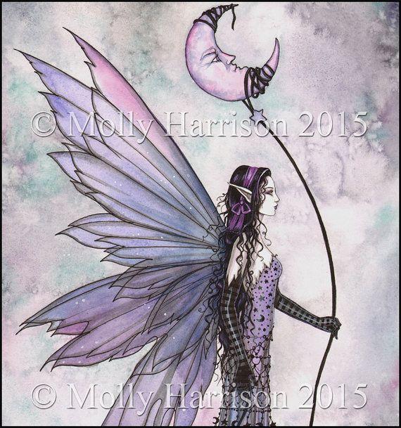 Captive Moon - Watercolor Fine Art Print - 5 x 7 - Fairy, Faery, Fairies, Fantasy Artwork, Purple Moon - Mystical