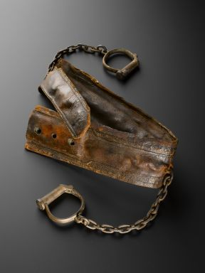 Replica of a 19th-century restraint harness, England, 1930-1940. The original of this leather restraint harness was found in a chest at the Hanwell Asylum in Middlesex in 1930. Such garments restricted the movements of mentally ill patients who were considered violent. They were universally used until the end of the 1700s. More humane methods of management were introduced throughout the 1800s.