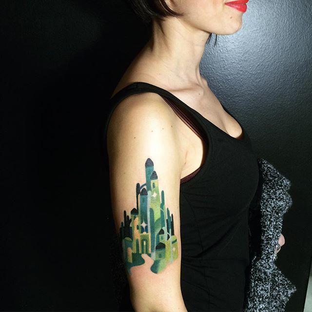 Emerald city tattoo by Sasha Unisex. Wizard of Oz.