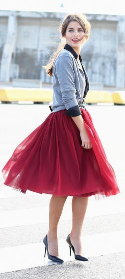 Burgundy Tulle Skirt by Seams For a Desire