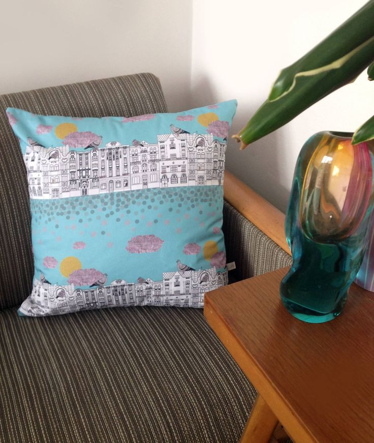 Handmade 'Pigeons on Vrsovice' cushion cover by NatyDesignPrague on Etsy