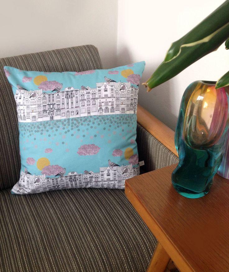 Handmade 'Pigeons on Vrsovice' cushion cover by NatyDesignPrague on Etsy