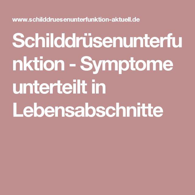 Schilddrüsenunterfunktion - Symptome unterteilt in Lebensabschnitte