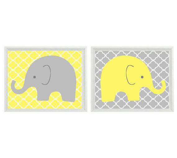 Elephant Nursery Wall Art - Yellow Gray Decor Clover Pattern Modern Safari - Children Kid Baby Room - Home Decor Set 2 8x10 Print