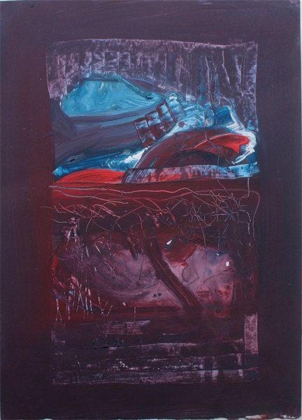 Paesaggio Astratto- vesuvio - Acrilico su carta-opera unica- Fausto Fiato-35 x 50 cm-blu, rosso, viola, azzurro