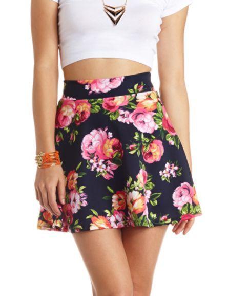 High-Waisted Floral Print Skater Skirt: Charlotte Russe