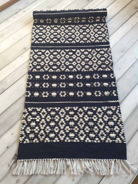 Scandinavian Rug Blue White Rugs Runner Rugs Floor Rug Kitchen Rugs Accent Rug Handwoven Rug Washable Rugs Bedroom Rugs Nordic Rug Blue And White Rug Scandinavian Rug White Rug
