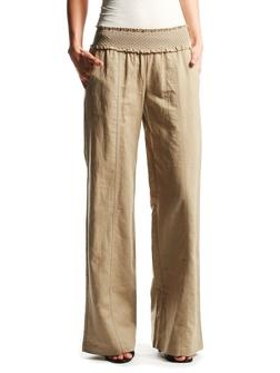 Linen pants...minus the weird band at the top...but with a giant elastic band like super comfy yoga pants...yes...I want linen for my birthday!!! LINEN!!!