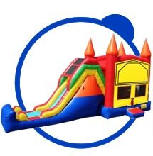 Our jump slide combo bounce. Great for any party or event. Can also be used as a wet slide to help cool off on those hot days:)