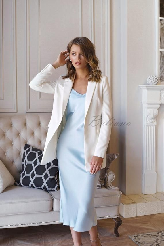 Silk Bias Slip Dress Baby Blue Color Silk Midi Long Bridesmaid Bridal Silk Silk 90s Slip Prom Thi In 2019 Dinner Outfits Spring Outfits Outfits
