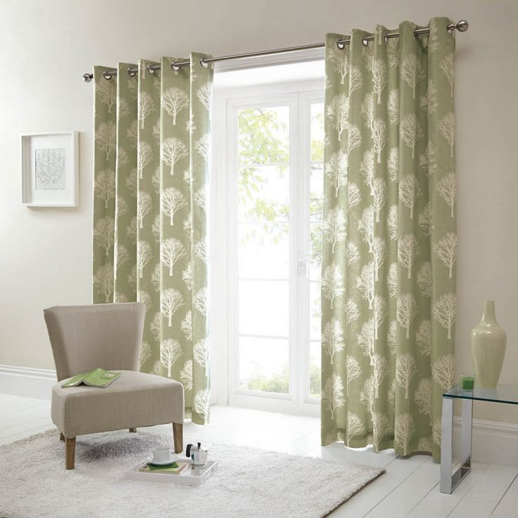 Design Woodland Trees Green Fully Lined Eyelet Ready Made Curtains