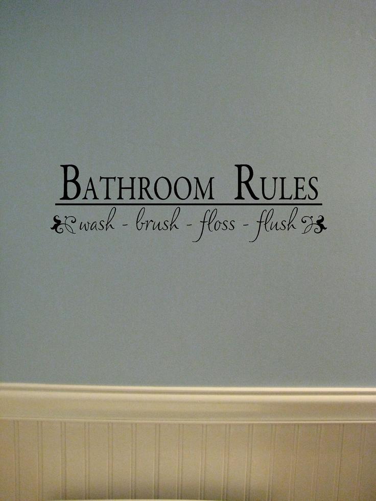 Vinyl lettering Bathroom Rules. $7.00, via Etsy.