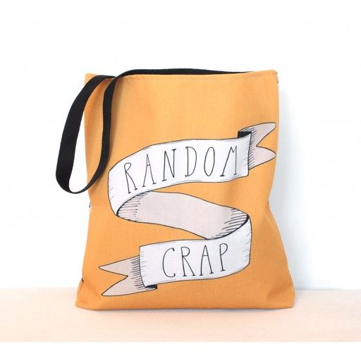 Random Crap, Canvas bag Yellow by Scandinavian designer A Grape Design -Nordic Design Collective