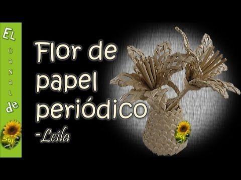 Flor de papel periódico, reciclaje de papel periódico. Este video cuenta con el traductor de subtítulos de Youtube. This video has subtitles translator Youtube.