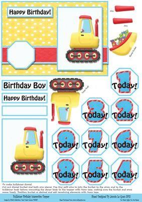 Bulldozer Birthday Interactive Age Topper on Craftsuprint - View Now!