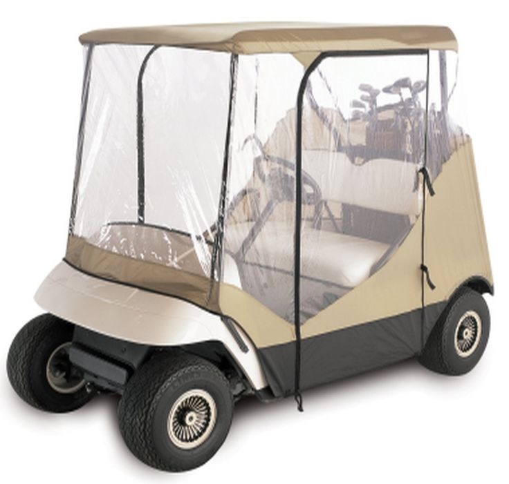 This golf cart enclosure will protect you from sudden wind and rainstorms. The 4-sided golf cart cover fits most two-person golf carts with or without windshields and, it includes zippered side-opening doors for easy entry. For further details visit: http://www.golfcartcenter.com/golf-cart-enclosure-keeps-rain-wind/