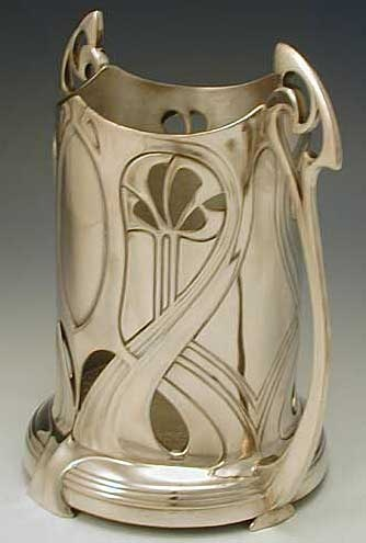 Silverplate on pewter soda syphon stand with art nouveau deocation Germany Circa 1906