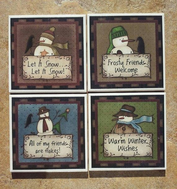 This set of coasters depicts four (4) different Primitive Snowman designs. Each coaster is 4.25 x 4.25.  These coasters are hand-crafted using printed images and decoupage medium, then sprayed with several coats of acrylic sealant. The backs of the tiles have a cork backing to protect your surfaces.  Care Instructions: it is recommended to wipe these down with a damp cloth; do not submerse in water or place in the dishwasher.  These coasters are made to order, so please allow 2-3 days…