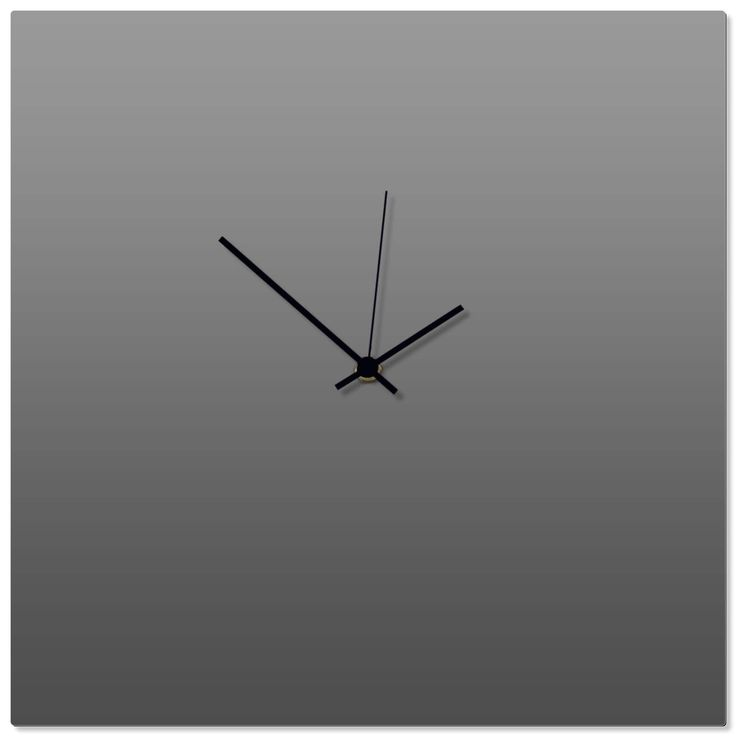 Adam Schwoeppe 'Grayout Black Square Clock' 16in x 16in Contemporary Clock on Aluminum Polymetal, Gray