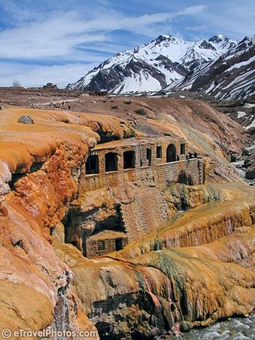 Puente del Inca. Ancient ruins near Mendoza, Argentina. Also sulfate waters around it made of sedimented volcanic lava