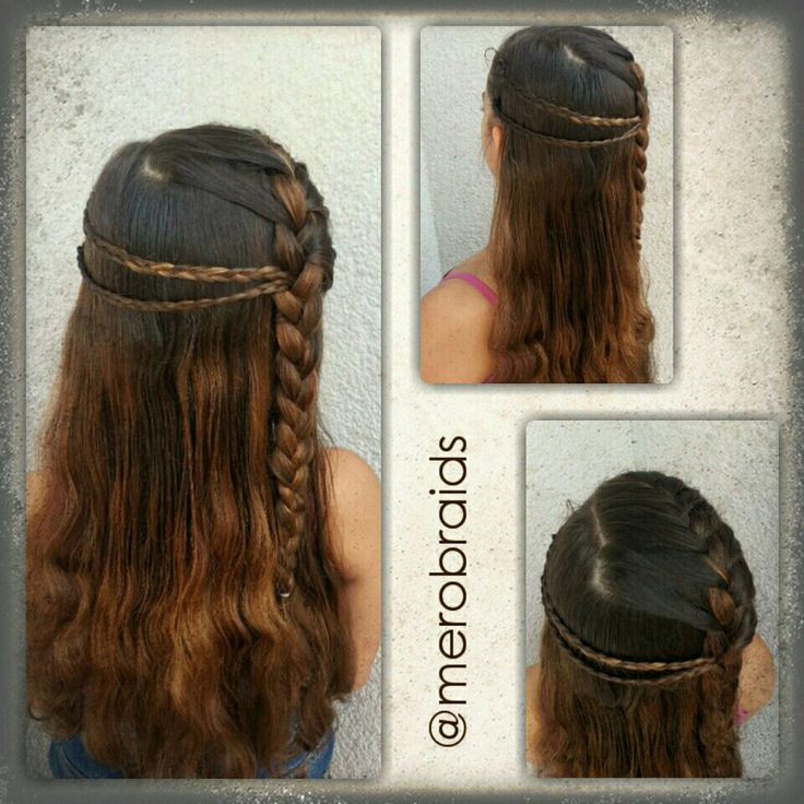 Hair down style with frenchbraid accents