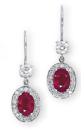RUBY AND DIAMOND EARRINGS, BY HARRY WINSTON  a pair of ear pendants en suite, mounted in platinum. Signed.