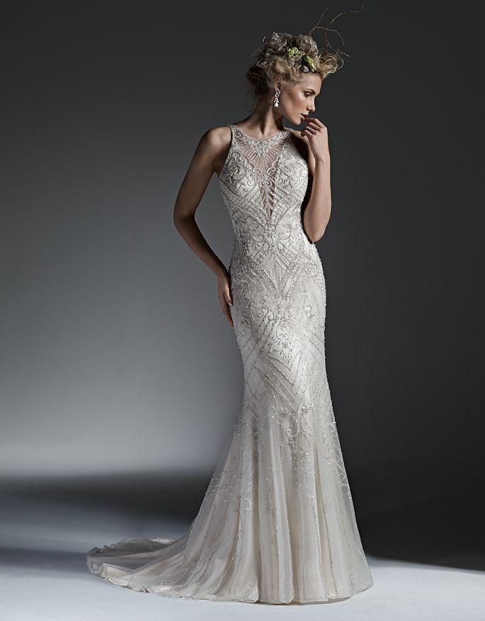 Bellethemagazine wedding dresses | Sottero and Midgley 2016 Collection | Floor White Sheath V-Neck $$ ($1,001-2,000)