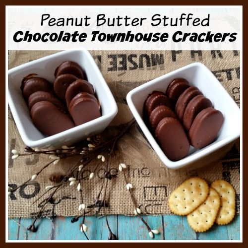 Peanut Butter Stuffed Chocolate Townhouse Crackers