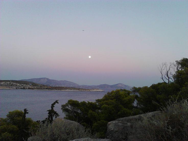 Vouliagmeni. rising moon