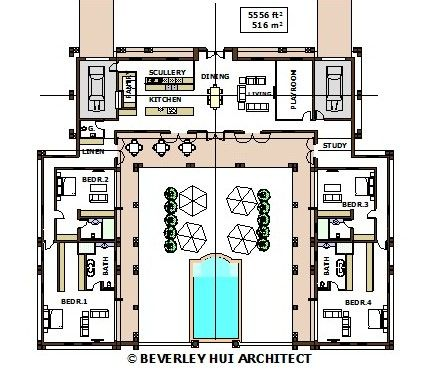 u shaped house plans with pool in the middle pg2 architect designed various sizes - House Plans Designs