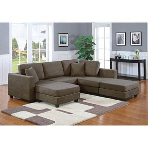 Rochester Taupe Microfiber Arm Loveseat Ottoman Sectional Sofa