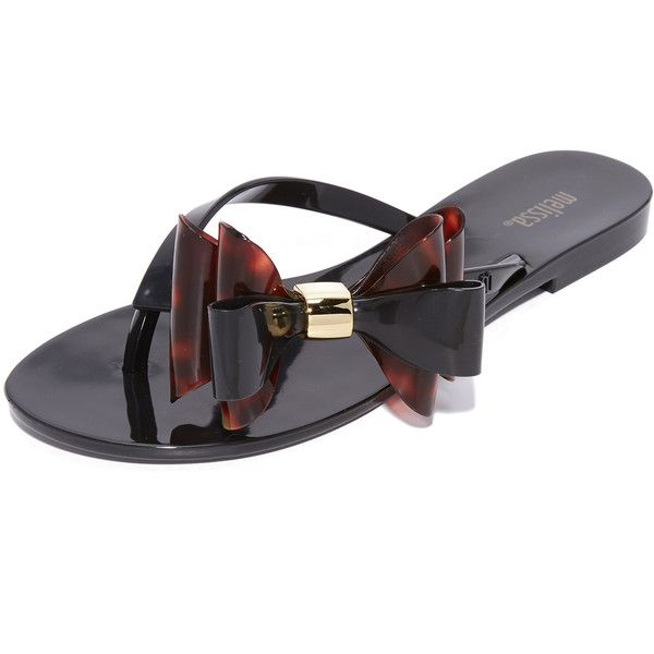 Melissa Harmonic XI Flip Flops ($75) ❤ liked on Polyvore featuring shoes, sandals, flip flops, melissa footwear, tortoise shell shoes, bow sandals, rubber sole shoes and tortoise shoes